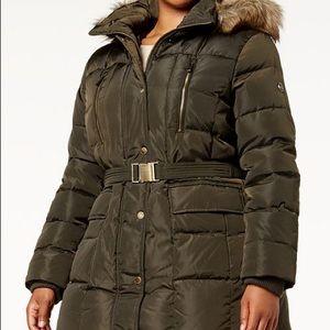 Michael Kors Plus Size Faux Fur Trimmed Puffer